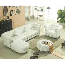 Simple European-Style Genuine Leather Corner Sofa