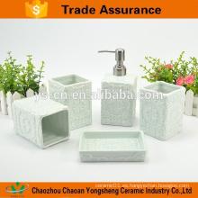 Hot-Sales accesorio de baño de cerámica conjunto con relieve clásico