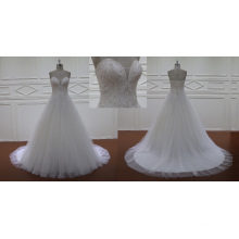 Top Charming A Line Court Train Lace Wedding Dress