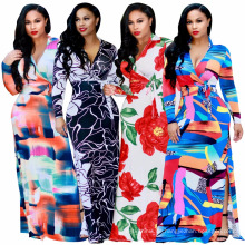 Mode Sommer digital gedruckt Blumenkleid Frauen Langarm Abendkleid