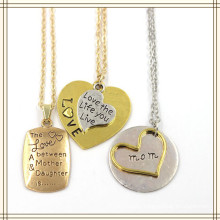 Embossed Heart Square Letter Pendant Fashion Jewelry Necklace