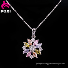 Colorful Flower Gemstone Pendants Charm