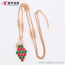 Moda Rose chapado en oro colorido CZ cristal joyería collar cadena con Swan-Plated -42893