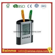 Plastic Pen Holder with Clock. Alarm& Weather Station