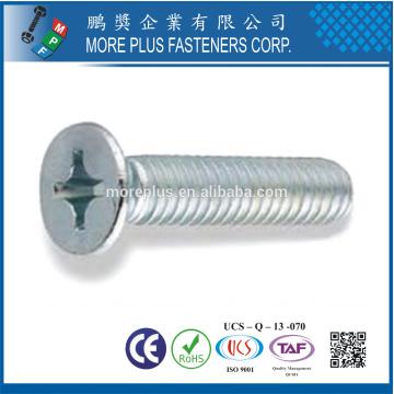 Fabriqué en taiwan DIN965 m5x16 en acier inoxydable 304 phillips tête plate