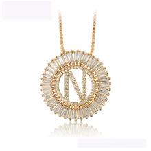 34437 colar de moda xuping atacado 18 K letra da cor do ouro N colar de luxo bonito