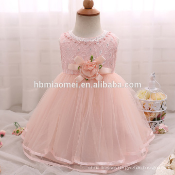 High end baby girl baptism dress tulle bow princess kids flower girls dress for wedding