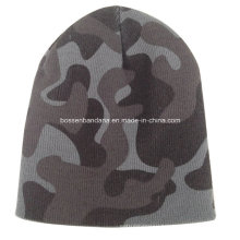 OEM Produce Custom Logo Printed Army Green Sports Customized Knitted Beanie Cap