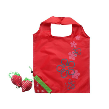 Shopping bag con logo a forma di fragola e coulisse