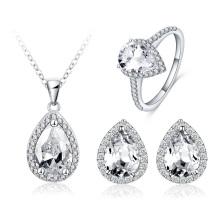 Mujeres lágrima cristal nupcial boda conjuntos de joyería (cst0039)