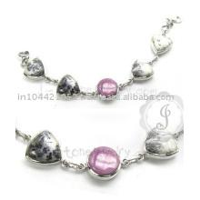 Phosphosiderite et bracelet d'agate dendritique Bracelet en argent en gros