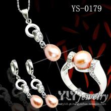 Moda 925 Sterling Silver Jewelry Set com pérola laranja (YS-0023)