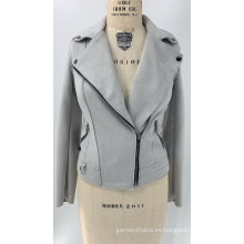 Chaqueta de gamuza sintética gris para mujer