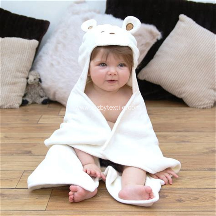 100% Organic Bamboo Baby Plain White Hooded Towel