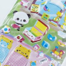 Series Self Adhesive Kids' Cartoon Animal Room Decoration Glitter Puffy Sticker