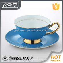 Heißer Verkauf des neuen Produktes der neuen Farbe feine Knochenporzellan-Teecup und Saucer eingestellt