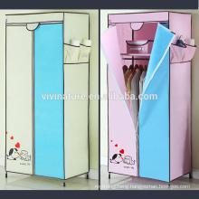 Portable Closet Wardrobe Non Woven Fabric Cloth Storage Organizer Rack Bedroom Dresser with Hangers Shelf