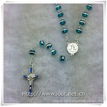 Light Blue Silver Side Beads Rosary with Light Blue Crucifix and Connecting Part (IO-cr389)