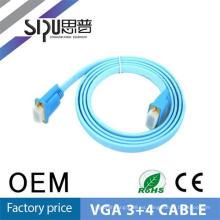 SIPU alta calidad 3 + 4 vga cable plano mejor cable vga precios al por mayor cable de audio de la computadora