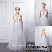Elegantes Spitze gesticktes Backless langes bodenlanges Abend-Kleid / 2016 Neues Ankunfts-tiefes V-Ansatz Partei-Abschlussball-Kleid