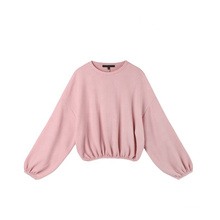 Pink Knitted Cotton Loose Warm Crew Neck Women Lantern Sleeve Sweater Shirt