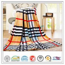 Personalizado 100% Poliéster Check Strip Impresso para Hospital Home Avião Coral Fleece Velvet Blanket