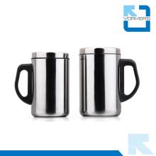 Tasse à café en acier inoxydable Tasse à eau avec couvercle
