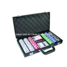 Ensemble de puces de poker 300PCS en étui en cuir couleur noire (SY-S20)