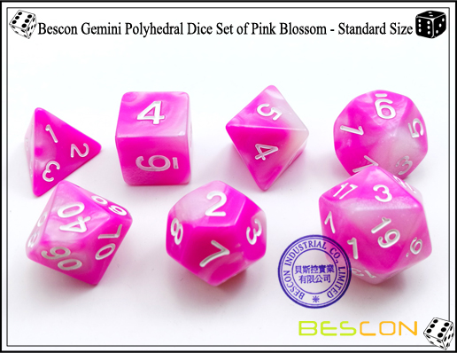 Bescon Gemini Polyhedral Dice Set of Pink Blossom-4