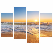 Прибрежный пейзаж Холст Печать / Пляж Закат Художественное оформление Настенные / Океанские волны Картина маслом Печать