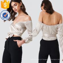 Off-ombro manga comprida com decote em v prata top de verão com arco manufatura atacado moda feminina vestuário (ta0081t)