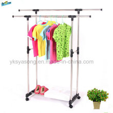 Cheap Extendable Double Bar Metal Steel Pipes Clothes Rack