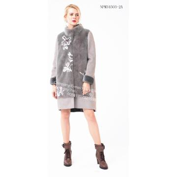 Lady Spain Merino Shearling Coat Wite Flower