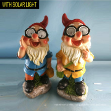 Solar Lighted Cute Schooling Polyresin Dwarf for Garden