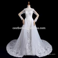 Vestido De Noiva Langarm-Hochzeitskleid mit langem Schwanz Luxus Robe De Marriage Marriee