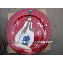 Plato de cerámica de cerámica rojo de encargo de la porción vende al por mayor