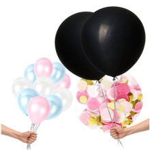PARTY 36'' Giant Black Round Gender Reveal Balloon Pop with Pink and Blue Confetti for a Baby Shower