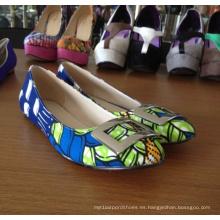 Africano impreso telas planas zapatos de mujer ocasionales (Hcy02-1059)