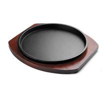 Placas crepitantes do bife do ferro fundido do óleo vegetal com base de madeira / bandeja de cozedura / bakeware