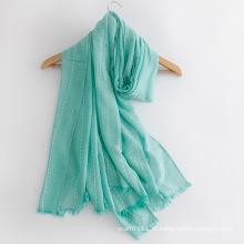 Mulheres moda lenço de seda de algodão cor lisa (yky1148)