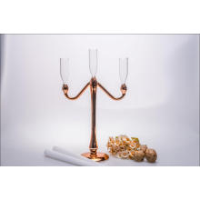 Golden Color Glass Candle Holder for Wedding Decoration with Three Poster