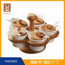 flower shape ceramic spice tools set& salt jars with bamboo racks wholesale
