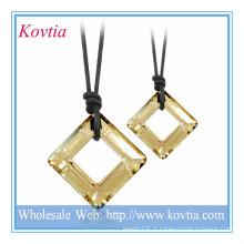 Bijoux à la mode HOT bijoux carrés en cristal noir cordon collier