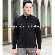 2015 winter men's cashmere knitting cardigan with zip