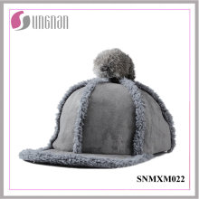 2015 Sweet Girls Hiphop Hat Plush Fur Ball Flat-Brimmed Cap (SNMXM022)