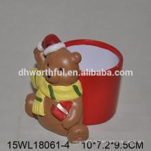 2016 Lovely oso de Navidad flor de cerámica