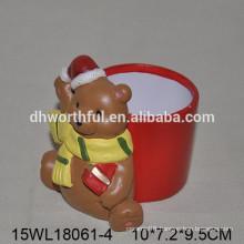 2016 Lovely Christmas bear ceramic flower pot