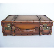 HIBO High Quality PU Leather Suitcase old looking Wood Frame classical Vintage suitcase