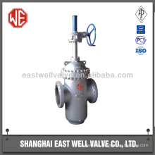 Worm gear double disc flat plate gate valve