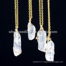 Forme forme irrégulière en pierre naturelle bijoux plaqué or Collier pendentif en chaîne mince